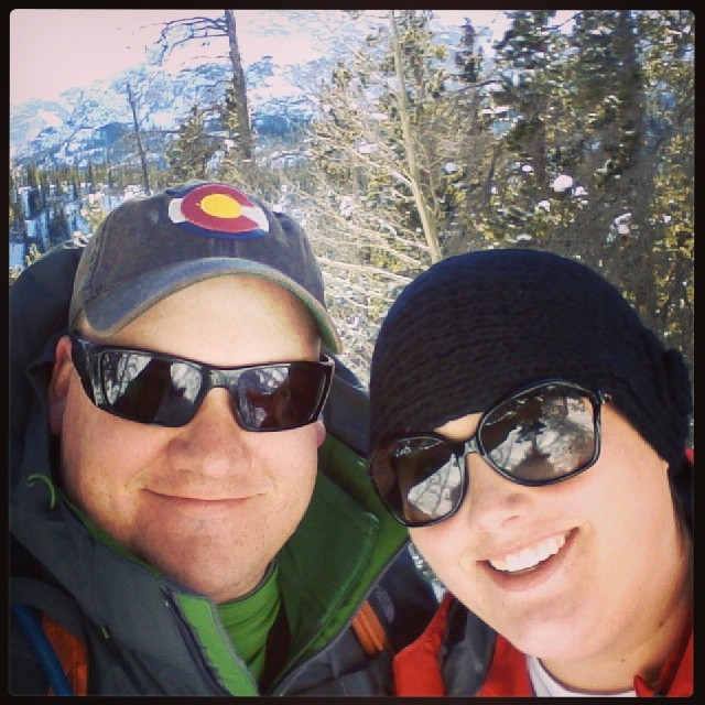 Here we are snowshoeing in Rocky Mountain National Park in February 2014.